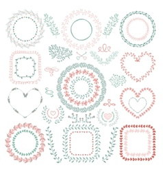 Hand-drawn floral frames vector