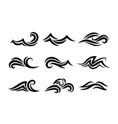 Ocean hand drawn waves isolated on white vector
