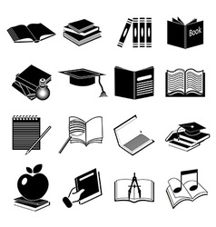 Books education icons set vector