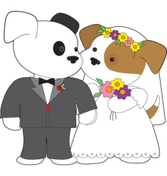 Cute puppy marriage vector
