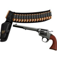 Revolver a belt holster and ammunition vector