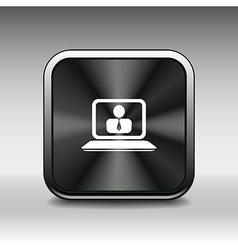 Office work icon icon laptop isolated human sittin vector