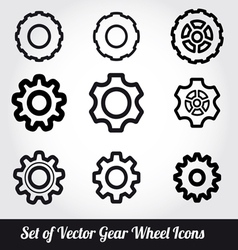 Gear wheels icons set vector