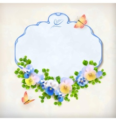 Floral vintage pansy flower card vector