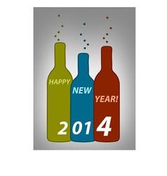 Happy new year bottles vector