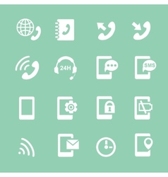 Simple set of phones related white icons vector
