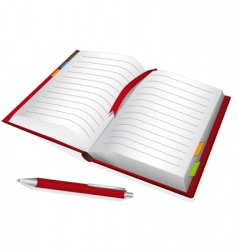 Red notebook vector