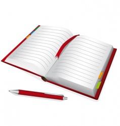 Red notebook vector