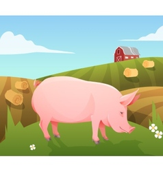 Pig on farm vector