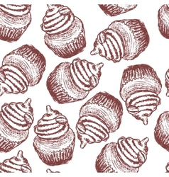 Doodle coffee cupcake seamless pattern vector