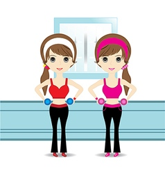 Cute woman exercising vector