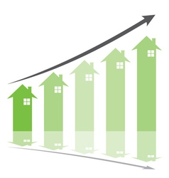 Green graph show home price increase stcok vector