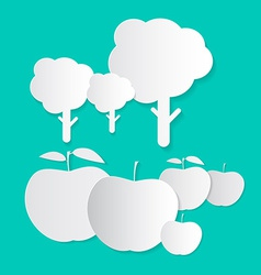Paper apples and trees vector