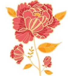 Golden and red flower design element vector