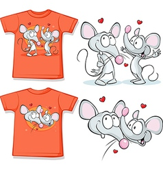 Kid shirt with cute mouses in love printed - vector