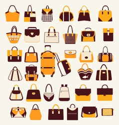 Set icons of bags and handbags - vector