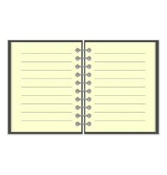 Open spiral lined notebook vector