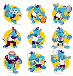 Rhino sports mascot collection set vector