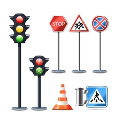 Traffic sign and lights set vector