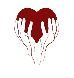 Heart in veins hands symbol vector