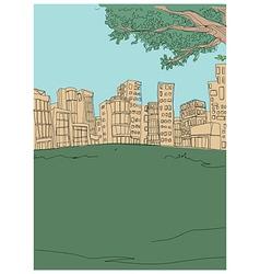Park townscape sketch vector