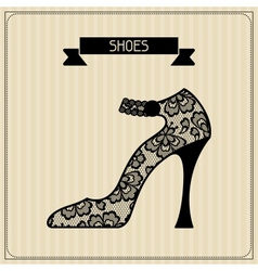 Shoes vintage lace background floral ornament vector