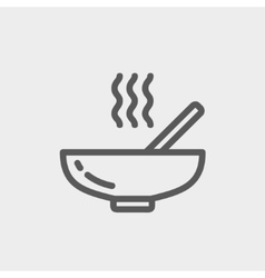 Hot meal in bowl thin line icon vector