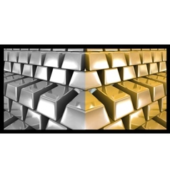 Gold and silver bars vector