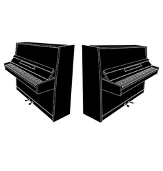 Open piano silhouette with keyboard vector