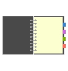 Blank grey spiral notebook with colorful bookmarks vector