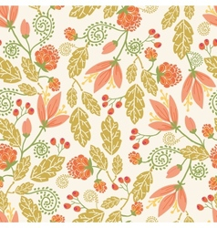 Spring flowers and berries seamless pattern vector