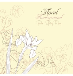 Floral background with one iris vector
