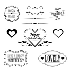 Set of decorative frames related to valentines day vector