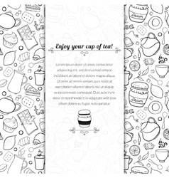 Tea and sweets for template card vector