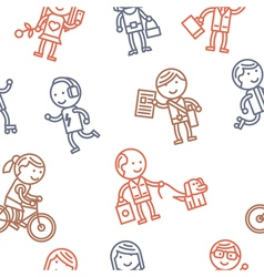 Seamless pattern with people vector