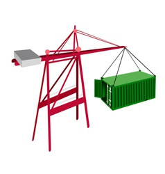 Green container being hoisted by a crane vector