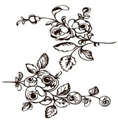 Silhouette rose black vector