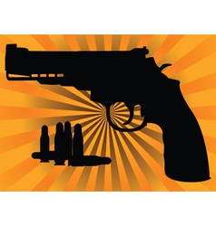 Pistol and cartridges vector