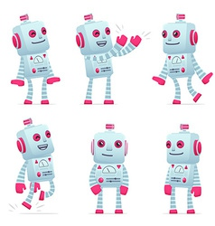 Set of robot character in different poses vector