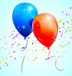 Blue and red balloons vector