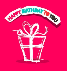 Happy birthday to you title with gift box outline vector