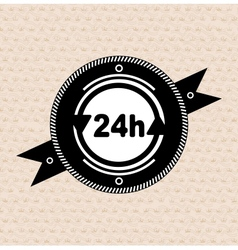 Vintage retro label  tag  badge  24 hours icon vector