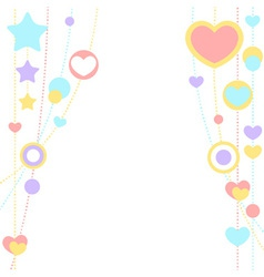 Cute congratulation card with border of hearts vector