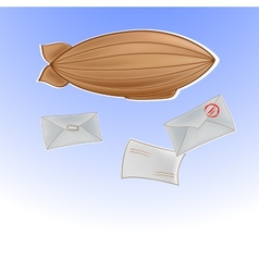 With airship in sky and letters vector