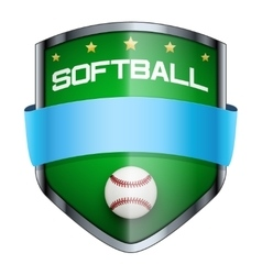 Softball shield badge vector