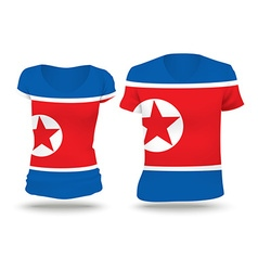 Flag shirt design of north korea vector