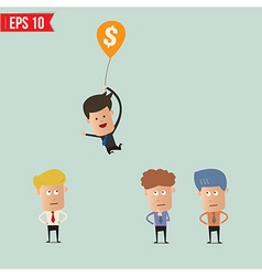Cartoon businessman flying away by using money vector