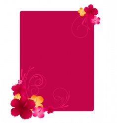 Floral frame with hibiscus flowers vector