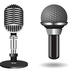 Vintage silver microphones vector