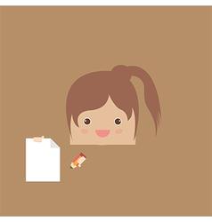 Cartoon doodle girl rectangle of business vector